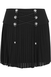 Crepe-paneled pleated jersey mini skirt
