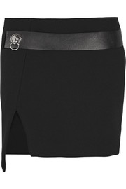 Asymmetric leather-trimmed crepe mini skirt