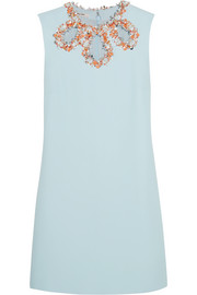 Embellished cutout crepe dress
