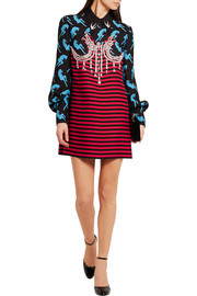 Miu Miu Embellished printed twill mini dress