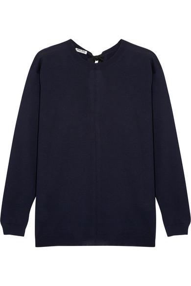 Miu Miu - Split-back Bow-embellished Wool Sweater - Midnight blue