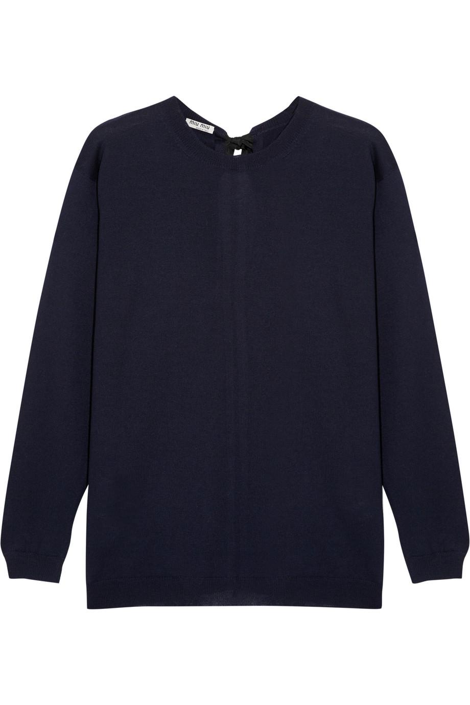 Miu Miu Split-Back Bow-Embellished Wool Sweater, Midnight Blue, Women's, Size: 38