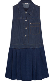 Pleated denim mini dress