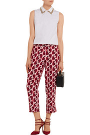 Miu Miu Cropped printed silk crepe de chine straight-leg pants