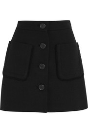 Wool-crepe mini skirt