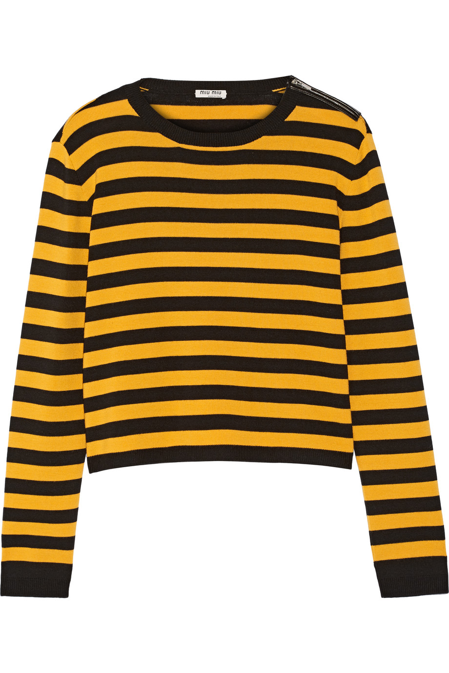 Miu Miu Striped Wool-Blend Sweater, Saffron/Black, Women's, Size: 36