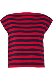 Leather-trimmed striped wool top