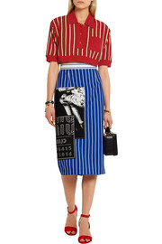 Miu Miu Cropped striped metallic knitted top