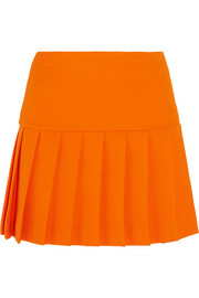 Pleated wool-crepe mini skirt