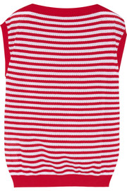 Striped pointelle cotton top