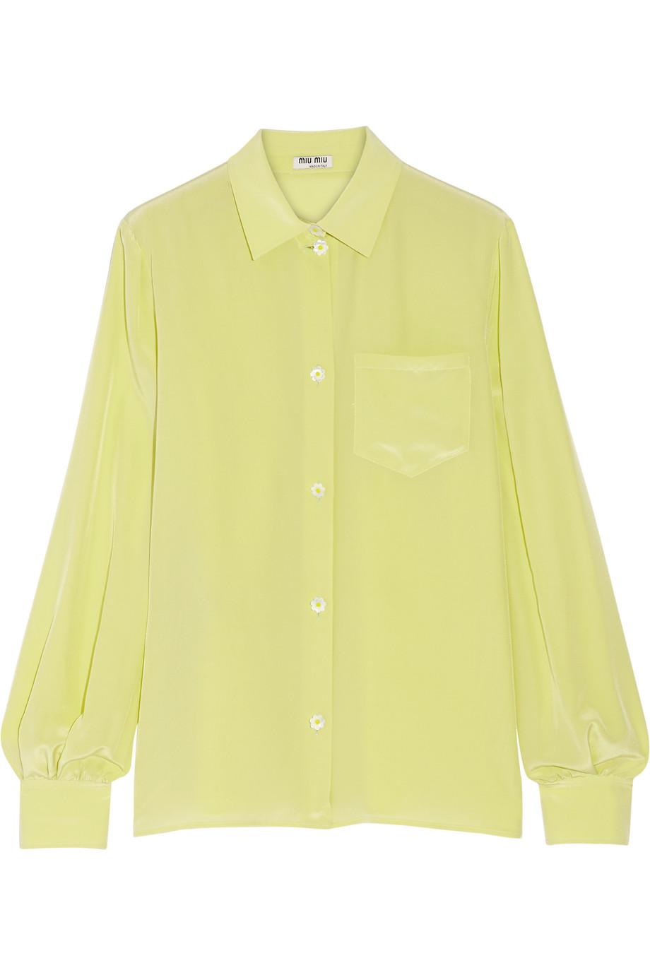 Miu Miu Silk Crepe De Chine Shirt, Chartreuse, Women's, Size: 36