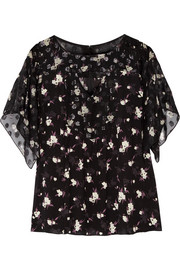 Anna Sui Printed fil coupé and crepe blouse