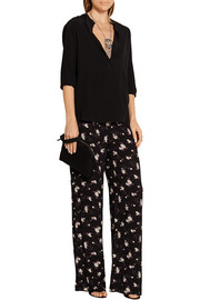 Anna Sui Printed crepe wide-leg pants