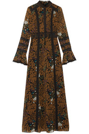 Anna Sui Garden of Eden lace-paneled printed chiffon maxi dress