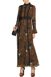 Garden of Eden lace-paneled printed chiffon maxi dress