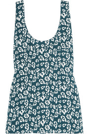Kaylen printed washed-silk tank