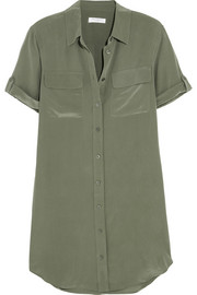 Signature washed-silk shirt dress
