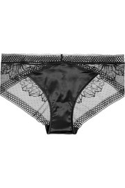 Sway stretch-lace and satin briefs