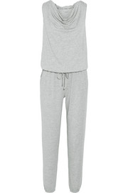Motion hooded wool-blend jersey jumpsuit