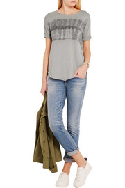 Raquel Allegra Tie-dyed cotton-blend jersey T-shirt