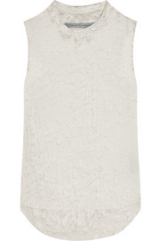 Printed silk-georgette and jersey tank