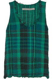 Plaid crinkled cotton-gauze tank