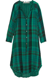 Oversized plaid crinkled cotton-gauze dress