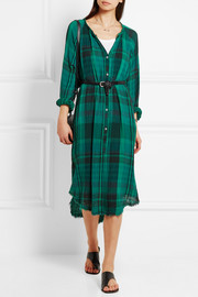 Raquel Allegra Oversized plaid crinkled cotton-gauze dress