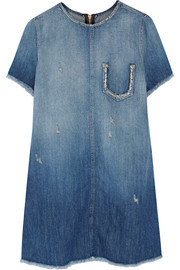 The Frayed Edge distressed denim mini dress
