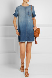 Current/Elliott The Frayed Edge distressed denim mini dress