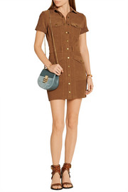 Current/Elliott The Trucker suede mini shirt dress