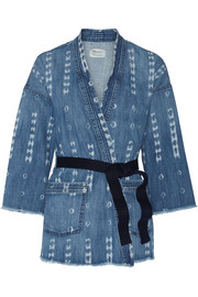 The Kimono printed stretch-denim jacket