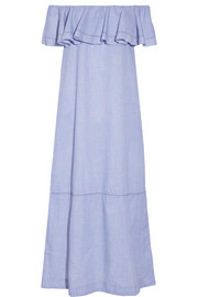 Mira off-the-shoulder chambray maxi dress