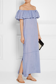 Lisa Marie Fernandez Mira off-the-shoulder chambray maxi dress