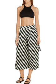Surf Club cropped striped silk-satin pants