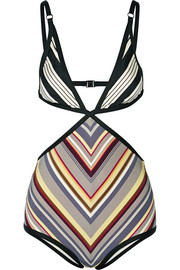 Zimmermann Ticking Wrap cutout striped swimsuit