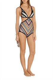 Ticking Wrap cutout striped swimsuit