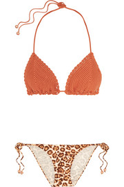 Alchemy crochet-knit and leopard-print triangle bikini