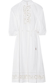 Alchemy crochet-paneled linen-blend dress