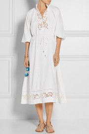 Zimmermann Alchemy crochet-paneled linen-blend dress
