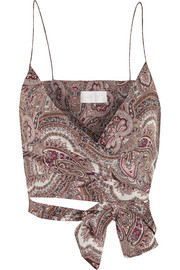 Epoque paisley-print cotton-voile wrap top
