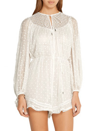 Zimmermann Belle crochet-trimmed embroidered silk-georgette playsuit