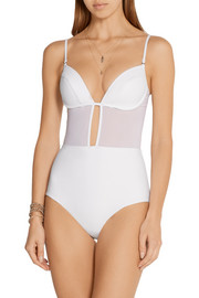 Zimmermann Ticking Tulip mesh-paneled swimsuit