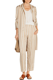 Stervis belted striped jacquard coat