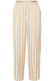 Striped jacquard straight-leg pants