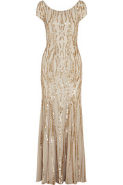 Sequined silk-georgette gown