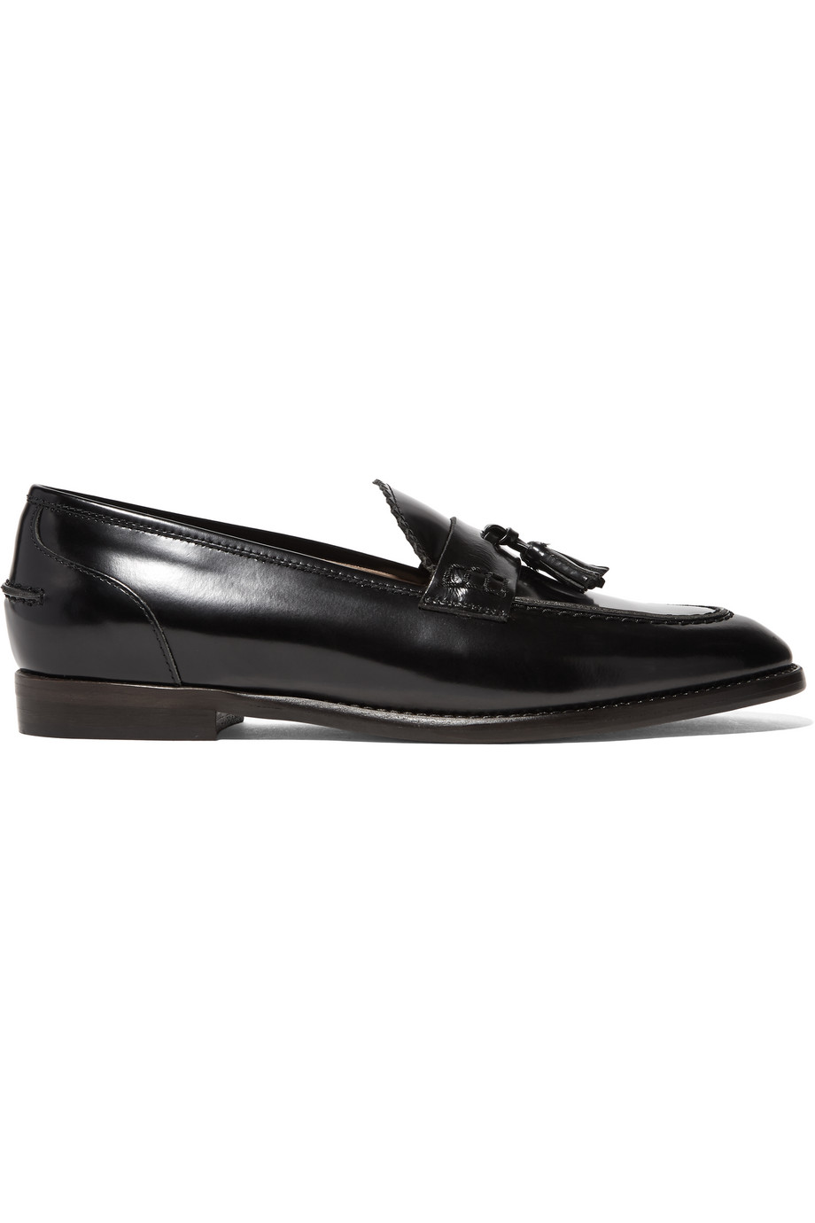 J.Crew Tassel-Embellished Glossed-Leather Loafers, Black, Women's, Size: 5