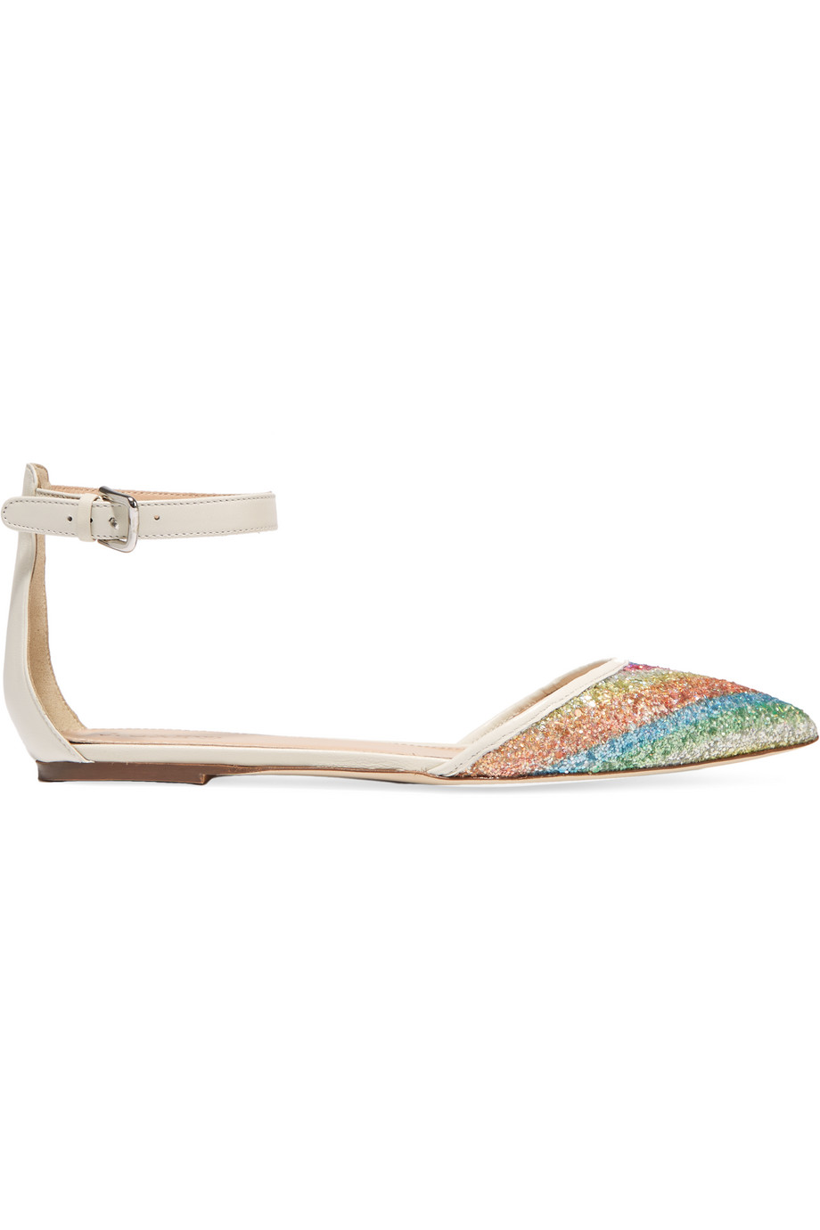 J.Crew Sequined Leather Point-Toe Flats, Size: 5