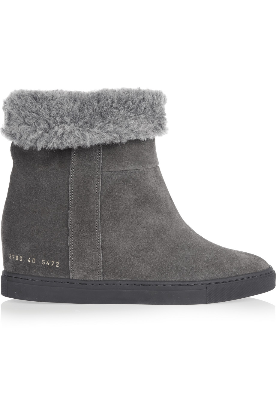 Common Projects Faux Shearling-Lined Suede Wedge Ankle Boots, Dark Gray, Women's US Size: 6.5, Size: 37