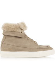 Faux shearling-lined brushed-suede ankle boots